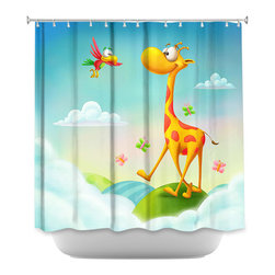 DiaNoche Designs - Shower Curtain Artistic At the Hop - DiaNoche Designs works with artists from around the world to bring unique, artistic products to decorate all aspects of your home.  Our designer Shower Curtains will be the talk of every guest to visit your bathroom!  Our Shower Curtains have Sewn reinforced holes for curtain rings, Shower Curtain Rings Not Included.  Dye Sublimation printing adheres the ink to the material for long life and durability. Machine Wash upon arrival for maximum softness. Made in USA.  Shower Curtain Rings Not Included.