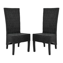 Safavieh Furniture - Wicker High Back Side Chair - Set of 2 - Set of 2. Long sleek back. Great addition to any home decor. Made from wicker. No assembly required. 18.9 in. W x 23.6 in. D x 43.3 in. H (22 lbs.).