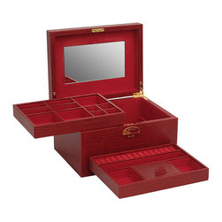 Frontgate - Andaluz Medium Jewelry Box - Heirloom-quality solid wood construction. Hand-lined plush nubuck interior beautifully protects jewelry. Vanity mirror for quickly putting on earrings or latching necklaces. Gold-finished hinges and key escutcheon. Clean with a soft dry cloth. The safe-keeping of cherished adornments has never been so elegant. Providing beautiful form and function, our Andaluz Jewelry Box is handcrafted in Spain and richly finished with crocodile-embossed or patent saffiano top-grain leather. Two lift-out trays feature compartments for stowing earrings, tucking rings and separating necklaces, and the gold-finished key lock closure brings stylish security.  .  .  .  .  .