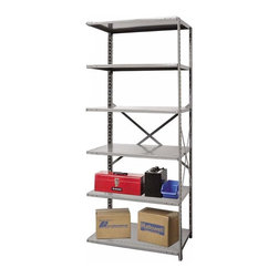 Hallowell - 87 in. High 6-Tier Extra Heavy-Duty Open Utility Shelf - Adder (48 in. W x 12 in - Depth: 48 in. W x 12 in. D x 87 in. H. Add versatile storage to any space with this extra heavy duty shelving unit, made of cold rolled steel with adjustable shelving. Highlighted by an open design for optional expansion, the unit is available in your choice of sizes and will be a durable choice for long lasting use. Great addition to Hi-Tech extra heavy-duty open shelving starter unit. Open style with sway braces. 6 Adjustable shelves. Fabricated from cold rolled steel. Welds are spaced 3 in. on center to provide maximum strength. Sides are triple flanged to form a channel. All 4 corners are lapped and resistance welded to provide a rigid corner and add extra strength to the shelf. Tubular front edge is designed to protect against impact loads. 48 in. W x 12 in. D x 87 in. H. 48 in. W x 18 in. D x 87 in. H. 48 in. W x 24 in. D x 87 in. H. Assembly required. 1-Year warranty