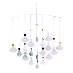 Flensted Mobiles - Angel Chorus Mobile - Count down the days till Christmas in style with this advent calendar in motion. These sweet angels — 25 to be exact— in golden halos will charm you throughout the holiday season.