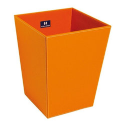 WS Bath Collections - Ecopelle 2603OR Waste Basket - Want a wastebasket that's so darned cute it will actually make your bathroom brighter? This sturdy Italian-made bin is made from faux leather with an interior of synthetic cloth, and it comes in neutrals and brights.