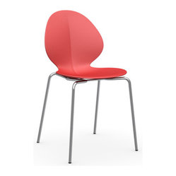 Calligaris - Basil Chair, Chrome Frame, Red - The shape, the colors, the surprising ridge that runs down the center — this is a statement chair that stays subtle enough to be versatile. Ideal for that little kitchen desk in the corner, it breathes happiness into every nook and cranny of your life.