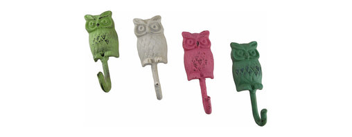 Zeckos - Set of 4 Shabby Chic Painted Cast Iron Owl Wall Hooks - This set of 4 distressed finish cast iron owl wall hooks are painted in 4 different colors to give your wall a splash of life. Each 6 1/2 inch high, 2 1/4 inch wide, 2 inch deep decorative hook has an attached hanger at the top, and can hold as much as 25 pounds. They are excellent for hanging jackets, hats and scarves in an entryway, robes and towels in a bathroom, or bathing suits and clothes in the cabana by the pool. They are an elegant accent perfect for the home or office, and make a wonderful housewarming gift