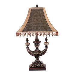 "Meyda Tiffany - 29""H Alhambra Oblong Desk Lamp - Like a lantern from exotic lands, the Alhambra lamp with Mocha colored fabric shade and beautifully detailed lamp base in a hand finished Rosewood with Gold accents, will add a sense of mystery to your decor."