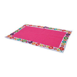 Printed Border Cotton Bath Rug Vitamine Multicolor - This printed border cotton bath rug Vitamine is 100% cotton. Soft to the touch and sophisticated in any bathroom, this beautiful bath rug features an eye-catching border with multicolor round patterns and a solid bright pink center panel. Machine wash cold and no dryer. Width 20-Inch and length 31.5-Inch. Color multicolor. Manufacturer recommends using a nonskid pad beneath the rug (not included). Indoor use only. Add a stunning look and a perfect finishing touch to your bathroom decor with this trendy bath rug! Complete your Vitamine decoration with other products of the same collection. Imported.