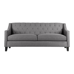 Apt2B - The Jackson Sofa, Tweed - The Jackson brings some much needed romance into any space. The rolled back with detailed tufting and swoop arms gives really interesting lines to a boxy room and can be that star every home needs. Each piece is expertly handmade to order in the USA and takes around 2-3 weeks in production. Features a solid hardwood frame and upholstered in a stain resistant woven polyester blend fabric.