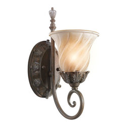 Kichler - Sarabella Legacy Bronze One-Light Wall Sconce - -Subtle ribbed detail on shades.  -Intricate leaf detailing. Kichler - 42516LZ