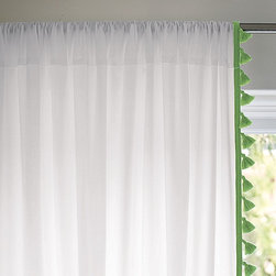 Serena & Lily - French Tassel Window Panel  Emerald - I love these green tassel window panels. They would be so sweet in a nursery.