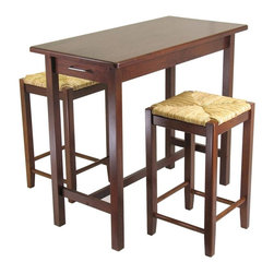 Winsome Wood - Beechwood Bar Table Set w Woven Seat Barstool - Beautiful set of rich walnut finished solid beechwood bar table with two stools.  Table has a drawer on either end, and a crossbar at the bottom for interest.  Stools are beechwood, 28 1/2 inches high and have a woven rush seat.  Rectangular tables have a special elegance that is a traditional favorite.  Keep extra utensils handy, too, with the pullout drawers at each end. * Includes Table w (2) Stools. Walnut finish. Solid beechwood. Woven rush seat. Table: 39 in. L x 20 in. W x 33 in. H. Stools: 14 in. W x 14 in. D x 24 in. H. Accommodates up to 200 lbs