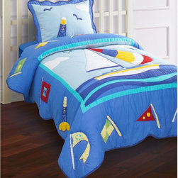 kathy ireland - Nantucket Quilt Set by Hallmart Collectibles Multicolor - 47665 - Shop for Bedding Sets from Hayneedle.com! Ahoy mates! Sail away in style with the adorable durable Nantucket Quilt Set by Hallmart Collectibles . Its multicolor design features all-things ocean so your little skipper can sail smoothly into sweet dreams. The bed set fits today's mattresses perfectly allowing whoever is tucked in to swim in total comfort and coziness. Comforter Dimensions Twin: 86L x 68W inches Full: 86L x 86W inches Bedding Set Components: Twin: 1 quilt 1 standard 26L x 20W inches sham Full:1 comforter 2 standard 26L x 20W inches sham s About Hallmart Collectibles Inc.Hallmart Collectibles is based in Southern California and sells bedding at the finest retailers. Hallmart bedding covers all the looks from simple and classic to bold and eclectic. Their collections are designed to fit today's higher beds and thicker mattresses. All comforters and pillow shams are corded for ultimate strength and softness. Their decorative pillows have lush details and embellishments. Hallmart Collectibles prides itself on providing customers with supreme value for their money. Their bedding lines feature quality additions like thick cording pintuck stitching decorative quilting flanging rich bullions or dressy fringe for that fresh from the decorator look.
