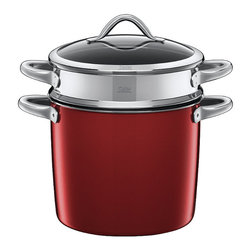 Frontgate - Silit 3-pc. Pasta Pot - Silargan® high-tech ceramic is harder than steel and scratchproof. Pot's steel core conducts heat quickly and stores it for a long time. Includes short stainless steel handles on each side of the pot and the strainer, as well as one handle on the lid. Lid is constructed of heat-resistant tempered glass. Features a Mediterranean design in trendy colors and brilliant aesthetics. Boasting a high-tech ceramic surface that's scratchproof and non-abrasive, the Silit 3-Piece Pasta Pot cooks a variety of pastas and shellfish. The stainless steel strainer insert conveniently lifts to drain, reducing splashing, and it works excellently for steaming vegetables. The steel center of the 8-quart pasta pot provides excellent heat distribution. The non-porous ceramic surface is nickel-free and anti-bacterial, and the pan is suitable for all types of stoves. Silargan high-tech ceramic is harder than steel and scratchproof. . . . . Perfect for preparing, serving, and storing foods. 10 year manufacturer's warranty. Dishwasher safe. Made in Germany.