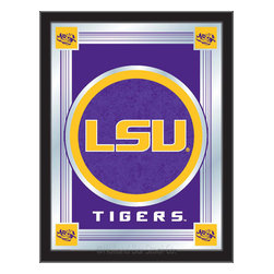 "Holland Bar Stool - Holland Bar Stool Louisiana State Logo Mirror - Louisiana State Logo Mirror belongs to College Collection by Holland Bar Stool The perfect way to show your school pride, our logo mirror displays your school's symbols with a style that fits any setting.  With it's simple but elegant design, colors burst through the 1/8"" thick glass and are highlighted by the mirrored accents.  Framed with a black, 1 1/4 wrapped wood frame with saw tooth hangers, this 17""(W) x 22""(H) mirror is ideal for your office, garage, or any room of the house.  Whether purchasing as a gift for a recent grad, sports superfan, or for yourself, you can take satisfaction knowing you're buying a mirror that is proudly Made in the USA by Holland Bar Stool Company, Holland, MI.   Mirror (1)"