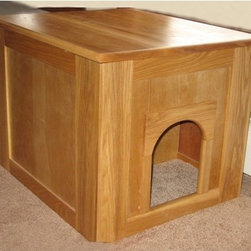 Classic Pet Beds - Flat Panel Litter Box Concealment Cabinet - Great for those who have limited space. It also has carpet so when your cat walks out of the pan, any litter will stay on the carpet before they walk out. Features: -Litter box.-Made from solid ash.-Solid wood and no plywood or veneers.-Easy to clean.-Shelf to hold the scoop and a box of pan liners.-Completely assembled and ready to use.-Product Type: Litter Box Enclosure.-Hardware Finish: Antique brass.-Distressed: No.-Powder Coated Finish: No.-Gloss Finish: No.-Material: Solid wood, melamine floor.-Hardware Material: Steel.-Number of Items Included: 5.-Pieces Included: Scoop, Liners, Pan, Carpet, Velcro.-Solid Wood Construction: Yes.-Reclaimed Wood: No.-Wood Tone (Finish: Natural): Light.-Wood Tone (Finish: Medium Walnut): Dark.-Non Toxic: Yes.-Weather Resistant: No.-Water Resistant: No.-Scratch Resistant: No.-Rust Resistant: Yes.-Stain Resistant: Yes.-Odor Resistant: Yes.-Non-Skid: No.-Fire Resistant: No.-Leakproof: Yes.-Antimicrobial: No.-Designer: Yes.-Enclosed / Hooded: Yes -Locking Lid: No.-Safety Lid: Yes..-Door Cutout: Yes.-Odor Filter: No.-Starter Kit: Yes.-Multi Pack: No.-Shape: Rectangle.-Handles: No.-Built-In Scoop: Yes.-Sifting Pan: Yes.-Rim: No.-Outdoor Use: No.-Foldable: No.-Plug-In: No.-Accessory Storage: Yes.-Suitable for Multiple Cats: Yes.-Battery Powered: No.-Weight Capacity: 200.-Commercial Use: Yes.-Recycled Content: No.-Country of Manufacture: United States.Specifications: -Greenguard Certified: No.Dimensions: -Overall Height - Top to Bottom: 19.-Overall Width - Side to Side: 19.-Overall Depth - Front to Back: 24.-Interior Height - Top to Bottom: 17.325.-Interior Width - Side to Side: 18.325.-Interior Depth - Front to Back: 22.325.-Door: No.-Overall Product Weight: 35.Assembly: -Assembly Required: Yes.-Tools Needed: Philips screwdriver.-Additional Parts Required: No.