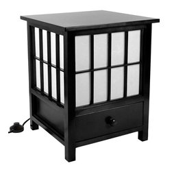 "Oriental Furniture - 19"" Hokkaido Lamp with Drawer - Black - This Hokkaido Lamp includes a convenient storage drawer. Handcrafted by artisans in Guangdong, it features an elegant spruce frame and a white rice paper shade that produces a soft, ambient light."
