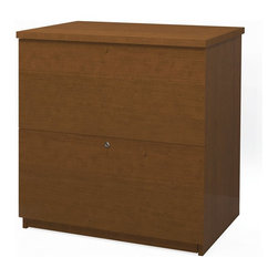 Bestar - Bestar 2 Drawer Lateral Wood File Storage Cabinet in Cognac Cherry - Bestar - Filing Cabinets - 656352176 - Classy yet simple the Bestar Lateral File is a beautiful addition to your office set. It features two file drawers and includes ball bearing slides. The Lateral File has a melamine finish for durability and easy lock system for safety.