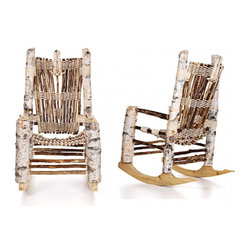 ecofirstart - IRIE Birch White Rocker - This stunningly crafted rocker, made from sustainable wood, will look amazing on your front deck, back patio or by the window in your cabin. The peaceful white birch gets a tribal look in this comfortable, handmade rocking chair.