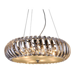 Bromi Design - Bromi Design Polaris 10-Light Crystal Drum Pendant - Glittering and glamorous, this dazzling pendant is elegant and all-around gorgeous. Its clear, curved crystals catch the lights inside to make your space positively dance with dazzling illumination.