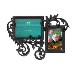Prinz - Decoro Antique-Style 2 Picture Collage Frame (4x6, 5x7), Black - Resin, hand painted and distressed finish.