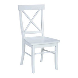 International Concepts - X-Back Chair w Solid Wood Seat - Set of 2 - Set of 2. Box seat construction. Made of solid wood. Assembly required. 18.75 in. W x 15.5 in. D x 36 in. H (42 lbs.). Seat height: 17.5 in.