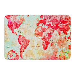 """KESS InHouse - Alison Coxon """"Oh The Places We'll Go"""" World Map Memory Foam Bath Mat (17"""" x 24"""") - These super absorbent bath mats will add comfort and style to your bathroom. These memory foam mats will feel like you are in a spa every time you step out of the shower. Available in two sizes, 17"""" x 24"""" and 24"""" x 36"""", with a .5"""" thickness and non skid backing, these will fit every style of bathroom. Add comfort like never before in front of your vanity, sink, bathtub, shower or even laundry room. Machine wash cold, gentle cycle, tumble dry low or lay flat to dry. Printed on single side."""