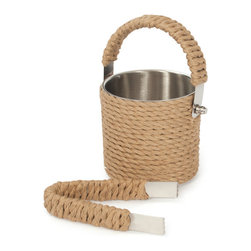 Roped Ice Bucket & Tongs - Get a Roped Ice Bucket & Tongs for your home! It is perfect party accent that you can fill with ice, drinks, or other foods. This versatile bucket is wrapped with rope all over including the brass handles. This country chic functional item is made of steel. This classic bar-ware is designed to accentuate your urban kitchen decor.