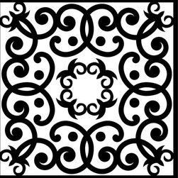Odhams Press - Edwardian Scroll Black RETile Decal, Clear Background - RETile decals can be used to accent or transform your existing ceramic, stone or glass tiles. They are easy to apply and can be removed in the future without leaving a sticky residue.