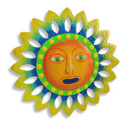 Sun Face Metal Art Wall Hanging 13 Inch - This beautiful round hand-painted metal sun face wall hanging measures 13 inches in diameter. Featuring wonderful personality, with beautiful hand-painted tropical tones, this wall hanging looks great on any wall, indoors and outdoors, and makes a great housewarming gift. NOTE: These are hand-painted, one at a time, and there may be slight differences in color and spot pattern from the one pictured.