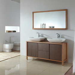 "Modern Bathroom Vanities By ConceptBaths.com - 60"" double vanity with vessel sinks. Featuring genuine solid red oak construction and natural iron wood finish, BLUM drawer slides."
