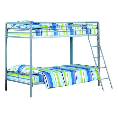 Ameriwood - DHP Twin over Twin Bunk Bed in Silver - Ameriwood - Bunk Beds - 5417096 - Simple sleek secure stable and space-saving DHP's Twin-Over-Twin Metal Bunk Bed meets all your needs and expectations. Easy to assemble the bunk bed has been designed for the utmost safety providing full-length guardrails and a ladder that attaches to the frame. Accommodating two twin mattresses the silver metal frame will last through years of rough play whether hosting twins friends family or siblings.