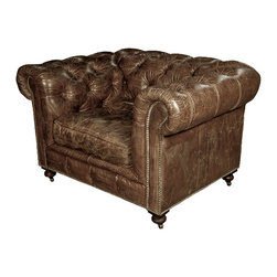 Kathy Kuo Home - Kensington Chesterfield Leather Arm Chair in Vintage Cigar - Take a seat in this classic club chair and you'll be enveloped in luxurious brown leather comfort. Rolled arms, tufted back and nailhead accents add to the chair's allure. It's got the look and feel of your soon-to-be favorite chair.