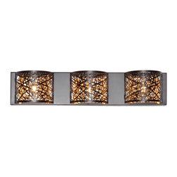 ET2 Lighting - ET2 Lighting E21316-10BZ Bronze Inca 4.25 Wide 3-Bulb Bathroom Light Fixture - Product