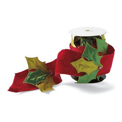 Grandin Road - Jeweled Holly Ribbon - Extra wide, silk Christmas ribbon, with a dimensional holly leaf motif. Single-sided design. Features a wired edge so forms hold their shape. From Katherine's Collection. With its unique, dimensional design of exquisite velvet adorned with quilted holly leaves, our Jeweled Holly Christmas Ribbon is as impressive as the cherished gifts you'll grace with it. Also a stunning addition to the tree, garland, or your tabletop tableau. Other premium details from creator Katherine's Collection include a red jewel attached to each holly leaf. Indulgence yourself in the pleasure of true, professional-quality gift ribbon.  .  .  . From Katherine's Collection . Imported.