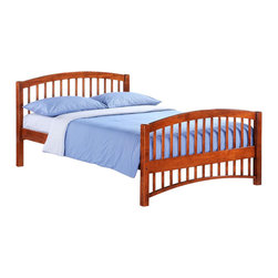 Night & Day Furniture - Molasses Full Bed in Cherry - Bed includes head/foot, rails, slats. 100% Malaysian Rubberwood construction. Warranty: 5 years. Cherry finish. 57 in. W x 80.6 in. D x 38.8 in. H (42.2 lbs.)Molasses. A good name for: The speed at which our kids get themselves into bed. Also works for: The speed at which our kids get themselves out of bed. And: That sweet, droopy feeling we get when sleep is pulling us down down down. About as good a name for a sleepy-time bed as we could think of.Take care of your kids' needs for beds, bunks and storage with our Zest Bedroom Collection for Night and Day. Smart quality at extraordinary value. We have gone to great lengths to design and engineer this complete line to keep your cost down and your pleasure up.