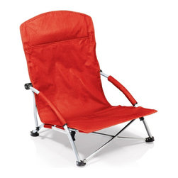 Picnic time - Tranquility Chair- Red - Heavy-duty, portable, fold-flat beach chair with padded armrests and large zippered pocket on back of headrest.