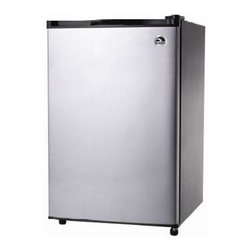 Curtis - Igloo 4.6 Cu Ft SS Door Refrig - FR465 Igloo 4.6 cubic foot refrigerator with stainless steel door wire shelves freezer with ice cube tray adjustable thermostat CFC free low energy consumption slide out shelves adjustable legs flush back design in visible door handle.