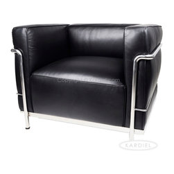 """Kardiel Le Corbusier Style LC3 Chair, Black Aniline Leather - The Le Corbusier sofa set series was originally designed in 1928 for the Maison La Roche house in Paris. The design is the modernist response to the traditional club chair. The series comes in a smaller version referred to as the LC2 and a larger version known as the LC3 considered more appropriate for practical living purposes. Remarkably comfortable, Le Corbusier often referred to the pieces as """"cushion baskets"""". A striking feature of the LC3 is the externalized metal frame supporting the base, extending as the legs and running the entire length of the piece. Its not just the front of the LC3 that is attractive, the metal frame work means design detail from the sides and back allowing for easy placement even in the middle of a room. The Le Corbusier LC3 set is often used in a group of 2 chairs (1 seat version) and a single sofa or love (2 or 3 seat versions). Kardiel offers the highest quality Le Corbusier LC3 Grande' reproduction on the market. We specialize in this series and under"""
