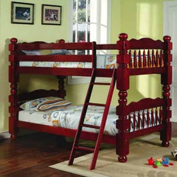 Yuan Tai Furniture - Wood Bunkbed Cherry Twin/Twin Bunkbed - 9083-CH - Solid Hardwoods and wood veneers