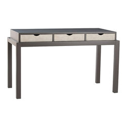 Arteriors - Garth Console - Three linen faced drawers are inset into the dove gray lacquer top and framework on the Garth Desk. Perfect size desk for a laptop, or can be used as a modern vanity. The drawers feature slotted pull fronts.