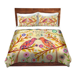 DiaNoche Designs - Duvet Cover Microfiber - Love Birds - DiaNoche Designs works with artists from around the world to bring unique, artistic products to decorate all aspects of your home.  Super lightweight and extremely soft Premium Microfiber Duvet Cover (only) in sizes Twin, Queen, King.  Shams NOT included.  This duvet is designed to wash upon arrival for maximum softness.   Each duvet starts by looming the fabric and cutting to the size ordered.  The Image is printed and your Duvet Cover is meticulously sewn together with ties in each corner and a hidden zip closure.  All in the USA!!  Poly microfiber top and underside.  Dye Sublimation printing permanently adheres the ink to the material for long life and durability.  Machine Washable cold with light detergent and dry on low.  Product may vary slightly from image.  Shams not included.