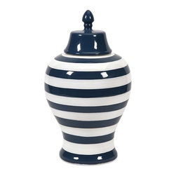 """IMAX - Hudson Large Striped Lidded Urn - The large Hudson lidded urn features bold stripes in a stark navy and white contrasting color scheme. Pair with its smaller counterpart for a striking set of conversation pieces. Item Dimensions: (17.5""""h x 10""""w x 10"""")"""