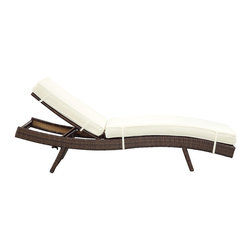 Modway Furniture - Modway Peer Chaise in Brown White - Chaise in Brown White belongs to Peer Collection by Modway Don't let moments of relaxation elude you. Peer is a serenely pleasant piece comprised of all-weather cushions and a rattan base. Perfect for use by pools and patio areas, chart the waters of your imagination as you recline either for a nap, good read, or simple breaths of fresh air. Moments of personal discovery await with this chaise lounge that has fold away legs for easy storage or stackability with other Peer lounges. Set Includes: One - Peer Lounge Chaise Lounge (1)