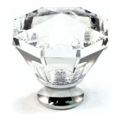 Cal Crystal - Cal Crystal Octagon Crystal Knob Solid Brass Base - Cal Crystal Octagon Crystal Knob Solid Brass Base (Choice Of Base )