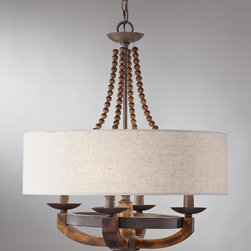Murray Feiss - 4 Adan 4 Light Single Tier Chandelier - The artfully crafted rustic iron structure, combined with gently curved burnished wood arms make this chandelier the perfect choice for your home.