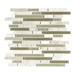 """Piano Stone Glass Tile In Arizona 11 75 X 11 75 Sample - Glass Mosaic is a handmade product and therefore can vary in color.  Product weight: 4 lbs. Product height: 11.75"""". Product width: 11.75"""". Product depth: 0.315"""". Square feet per carton: 10.78. Collection name: Glacier Mountain. Material type: Natural Stone/Glass. Recommended grout width: 0.125"""". Surface finish: Glossy/Polished. Pieces per carton: 11. Shipping weight per carton: 44 lbs. Tile Use: Walls/Backsplashes. Color: Arizona. Shade Variation: V1, Uniform"""