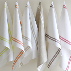 """Origin Crafts - Patrick stripes linen tea towels set/3 - Patrick Stripes Linen Tea Towels Set/3 Set of Three. 100% Linen. Colorful linen/cotton kitchen towels add an unexpected decorative touch to your kitchen and refinement to your home. They are ideal for drying glasses, dishes, pots and china and are practical and indispensable for housekeeping. Our cotton/linen towels combine the benefits of both materials and are an easy way to add a practical yet classic look to your kitchen. Dimensions (in): 20"""" x 28"""" By Linen Way - Linen Way is a family-owned wholesale business that sells the finest home textiles, handpicked from around the world. Linen Way offers inspirational products for your life and home in traditional and modern designs. Estimated Delivery Time 1-2 Weeks. Please be aware that some products are handmade and unique therefore there may be slight variations in each individual product."""
