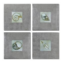 Uttermost - Uttermost Neptunes Garden 28 Inch Square Framed Art (Set of 4) - Prints are Outlined with Metallic Accents. Frames Feature a Champagne Silver Leaf Base with a Light Brown Glaze.