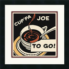 Amanti Art - Cup'pa Joe to Go Framed Print by Retro Series - Nothing captures your morning caffeine ritual quite like this cute, comically inspired print. It's right at home in your kitchen nook and a must for coffee lovers!