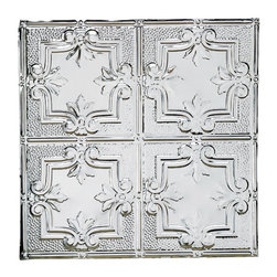 Renovators Supply - Ceiling Tiles Tin Ceiling Tile Fleur-de-Lis Crests 2 x 2 ft Tile - Tin Ceiling Tiles. Fleur-de-Lis Crests Tin Ceiling Panels: One of the most popular historical floral tin ceiling tiles, it can be used for nail-up  or drop-in ceilings, or even as a  backsplash.  Tin is rust-resistant, low maintenance & acts as a fire retardant, a safety feature for all homes. It can be painted to match any d̩cor or left as is. Match it with our Filler Panels #19219 to bridge the gap between field panels & the ceiling perimeter or cornice  perimeter. Measures 2 feet by 2 feet in addition to a �_ inch lip all around for overlapping.
