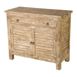 YOSEMITE HOME DECOR - 2-Door 1-Drawer Sideboard - This wonderful accent chest features a washed sandstone finish with aged metal hardware. The faux shutter door accents continue around the sides of the cabinet. Perfect as a  soft coastal or cottage accent piece.  One wood inner shelf and 2 front drawers allow for a great deal of storage space. Made in India of solid mango wood. Assembled.    Item Dimension in 40inches Width X 18inches Depth X 34inches Height
